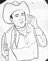 Roy Rogers calling out with gun Comic Art