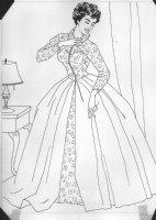 Elizabeth Taylor Coloring Book Art - full length flower dress Comic Art