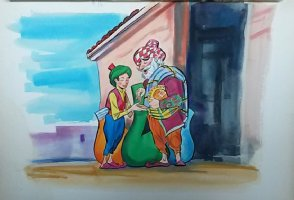 Aladdin - Large Art Color Board #16 Young Aladdin w/ Old Man Comic Art