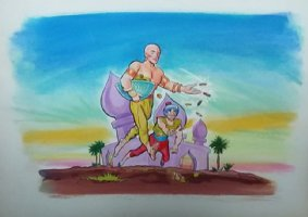 Aladdin - Large Art Color Board #48 Genie with Gold Coins Comic Art