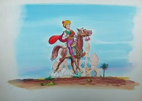 Aladdin - Large Art Color Board #35 - Aladdin on Horse Comic Art