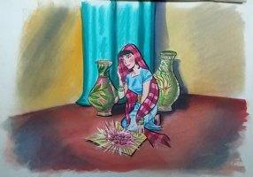 Aladdin - Large Art Color Board #23 - Princess w/ Jewels Comic Art