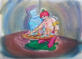 Aladdin - Large Art Color Board #15 - Man/ Genie? w/ Plate of Food Comic Art
