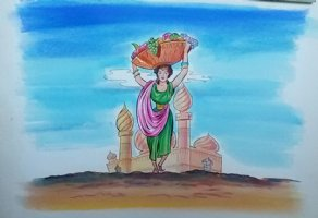 Aladdin - Large Art Color Board #24 - Babe w/ Fruit Basket Comic Art