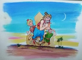 Aladdin - Large Art Color Board #1 Marketplace Men  Comic Art