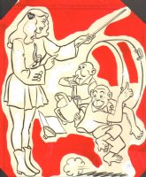 Super Circus Mary Hartline with Monkeys Coloring Book Art Comic Art