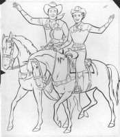 Roy Rogers, Dale Evans, Trigger, and Buttermilk Coloring Book Art Comic Art