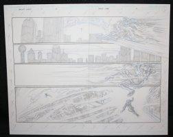 Dallas Star #1 pgs. 2 & 3 - Hero vs. Villain Action over City DPS Comic Art