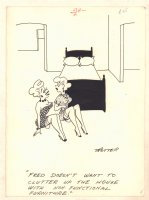 2 Sexy Babes with a Bed Humorama Gag - 1957 Signed by T Rotter or Trotter? Comic Art
