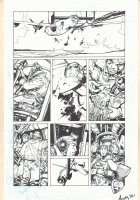 Unknown Title War Page - Plane Crashing - Signed art by Andy ? Comic Art
