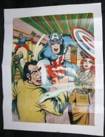 Captain America (Golden Age) vs. Nazis Painted Art Cover Recreastion Comic Art
