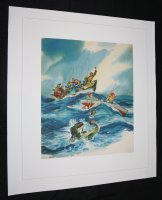 Fishing at Sea Painting Canvas Print  Comic Art