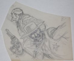 Bad Guy Sheriff and Other Cowboy Pencil Piece  Comic Art