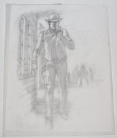 Bat Lash Smoking while walking through Town with Cowboys in Backround Detailed Pencil Prelim Comic Art