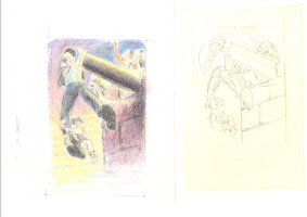 Bat Lash Five Pencil Roughs and one Hand Colored Rough Promo Material  Comic Art
