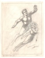 Aquaman and Mera Pencil Drawing - 1999 Signed Comic Art