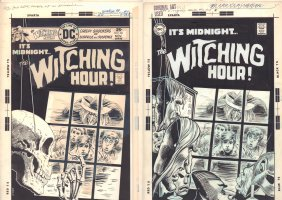 Witching Hour #60 Used and Unpublished Covers - Mordred with Kids at Shop Window - Masks of Frankenstein, Werewolf, & Phantom of the Opera - 1975 Signed Comic Art