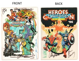 HeroesCon Guide - 1996 Signed by Mike Wieringo, Alex Ross, Ron Garney, Nick Cardy, Dan Jurgens, & George Perez Comic Art