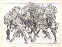 DC Merch Art - Villains 8 Figures - Joker, Harley Quinn, Bane, Lex Luthor, Doomsday, Deathstroke, & More - Signed Comic Art