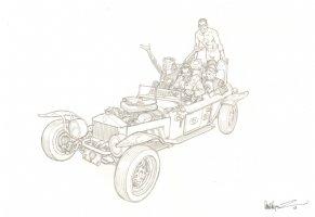 Batman's Rogues Pencil Piece - Joker, Catwoman, Penguin, & the Riddler - 2013 Signed Comic Art