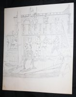 Jolly Roger with Sexy Babe Pencil Piece - LA - Signed Comic Art