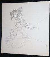 Daredevil and Black Widow Superhero Pencil Piece - 1974 Signed Comic Art