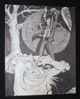 Dracula and Blonde Babe - Signed Comic Art