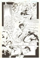 Superman #220 p.21 - Superman and Superboy Busting a Meteor - 2005 Signed Comic Art
