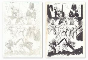 Flash: The Fastest Man Alive #12 p.22 - Flash vs. his Rogues Gallery Splash - Pair of Pencil and Ink Pages - 2007 Comic Art