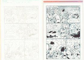 Fantastic Four #523 p.9 - Pair of Pencil and Ink Pages - 2004 Signed Comic Art