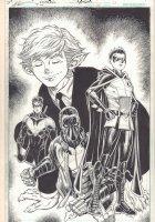 Teen Titans #24 p.11 - Great Beast Boy with Robins: Nightwing, Jason Todd, and Damian Wayne Splash - 2016 Signed Comic Art