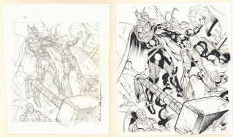 Marvel Legendary Masterstrike Card Art - Loki Defeats the Avengers - Sold as a Pair - Signed Comic Art