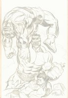 Hulk beats Thanos and Superman Pencil Art Commission - 2014 Signed