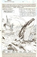 Namor the Sub-Mariner #45 p. 1 - Whale Hunters, Whale splashing - Splash Page - 1993 Signed Comic Art