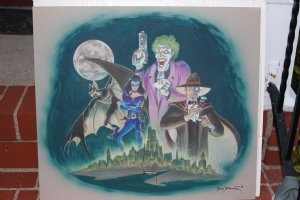 Bad Moon over Gotham  Painted Color Art - The Joker, Catwoman, Two Face, Man-Bat - 1990 LA Comic Art