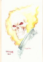 Ghost Rider Portrait Painted Art - 2015 Signed Comic Art