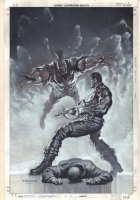Punisher: Nightmare #4 Cover - Painted Black and White Work - 2013 Signed Comic Art