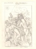 Lobo Cover Prelim - Tons of Sexy Babes - Signed Comic Art