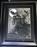 Batman on Rooftop with Batsignal and Bats Cover Quality Commission - 2017 Signed Comic Art