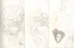 3 Piece Sketch Book Lot of Monster Pencil Art Comic Art