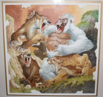 White Gorilla vs. Sabretooth Tigers Painted Art - Signed Comic Art