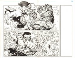 Avengers #28 pgs. 2 & 3 - Red Hulk Action DPS - Inks over Blue Line pencils of Walter Simonson - 2012 Comic Art