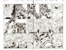 Avengers #28 pgs. 12 & 13 - Red Hulk DPS - Inks over Blue Line pencils of Walter Simonson - 2012 Comic Art