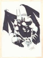 Demon Batman with the Joker's Head - Signed Comic Art