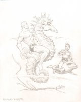 Aquaman on Seahorse Pencil Commission - Signed Comic Art