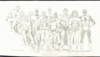 DC 13 Super Heroes: Batman, Superman, Wonder Woman, Robin, Green Lantern, Supergirl, Power Girl, Aquaman, & More - Signed Comic Art