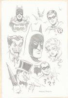 Batman, Robin, Batgirl, the Joker, Poison Ivy, Riddler, and the Penguin Pencil Art Commission - Signed Comic Art