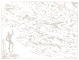 Aquaman w/ Ocean of Fish (Pencil Art) - 11 x 14 Comic Art