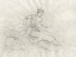 Aquaman on Dolphin Pencil Art - 8.5 Comic Art