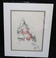 Groo the Wanderer with Dog Hawaiian Style and Self Portrait - 1989 Signed Comic Art